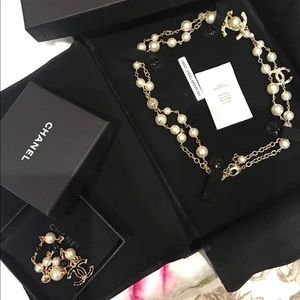 Authentic Chanel White Pearl Jewelry Set